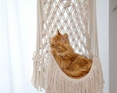 Macrame cat hammock Woven hanging dog bed Macrame wall cat swing Cat lover gifts Cute boho Crochet rope large pet toy furnitures supplies