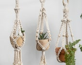 17.7 39 39 Small macrame plant hanger Short suspended wall planter Mini wall hanging plant holder Rope crochet ceiling hanging planter cute boho