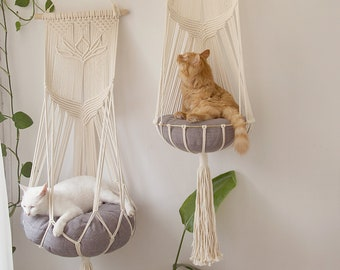 Macrame cat hammock, Cat tree, Hanging cat bed, Pet wall furniture, Boho cat swing, Cute crochet cat supplies, Cat lover gifts, Pets gifts