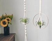 Macrame air plant holder, cotton air plant hanger, air plant display hanging planter, tillandsia hanger, cute wall planter boho modern gifts