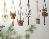 Macrame plant hanger no tassel, Hanging planter, Wall planter no tail, Indoor garden decor, Simple plant hanger no fringe, Plant holder Boho