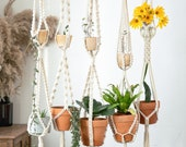 59 39 39 extra long large double 2 tier macrame plant hangers, wall hanging planter indoor outdoor, pot holder rope crochet ceiling plant holder