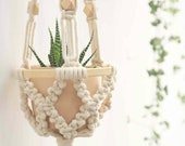 Macrame plant hanger, small wall planter indoor outdoor, wall hangings, rope crochet ceiling mini plant holder vintage 1970s boho beaded
