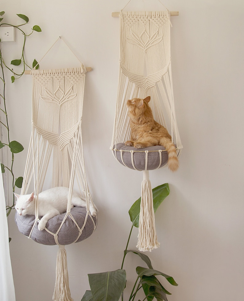 Macrame cat hammock Cat tree Hanging cat bed Pet wall Buy2(1 w +1 w/o ring