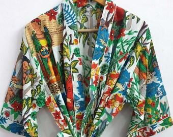 Farida Work Cotton Indian Kimono Robes Printed Bohemian Nighty Beach Wear Summer Vintage Ladies Wear