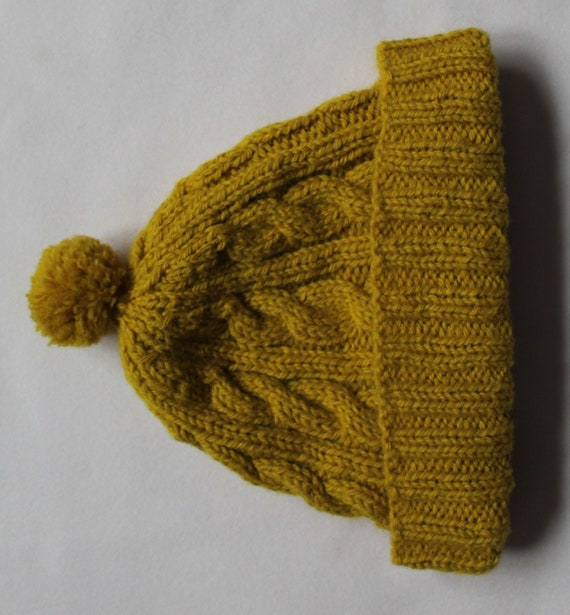 bc71f392a85 Traditional Knitted Cable Hat 100% Wool