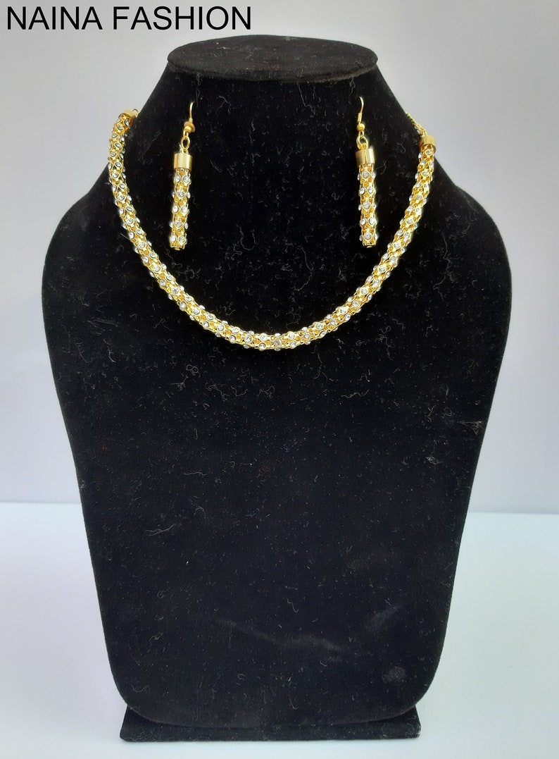 Wedding Gift Naina Fashion White Stone Necklace Gifty For Her Beautiful Necklace