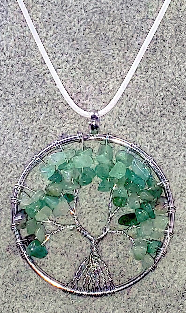 Aventurine Tree of Life Gemstone Necklace Free Shipping!