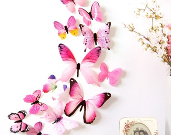 57f937a38cc 12Pcs Butterflies Wall Sticker Decals Stickers on the wall New Year Home Decorations  3D Butterfly