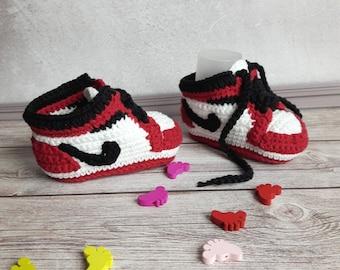 Red crochet newborn sneakers Jordan. Booties made cotton yarn. Crochet baby  vans shoes. Knitted nike air booties. Crochet copy model nike. f36cffc46