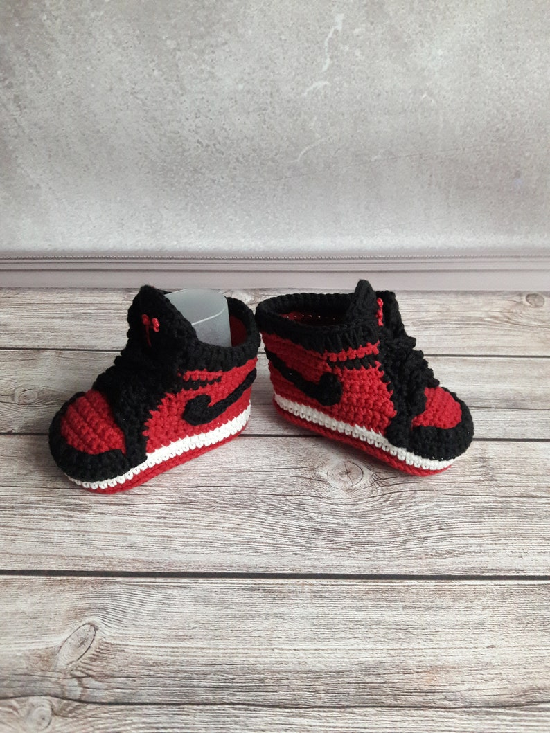 c884c793bce17 Crocheted baby booties sneakers Nike copy, Baby cotton sneakers newborn,  Infant shoes Jordan Air 1 Mid nike copy, Crocheted baby shoes
