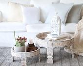 wood Handmade Grinder Chakki Grinder Table , Home Bedsite Table , Bedroom Table home decor, home and living( Setof 2)