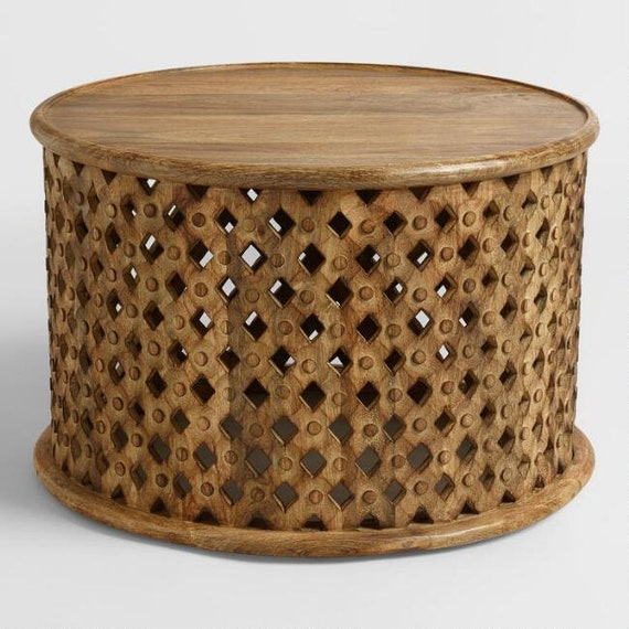 Indian Handmade Wood Carving Coffee Table Home Antique Coffee Table Round Tribal Carved Wood Coffee Table