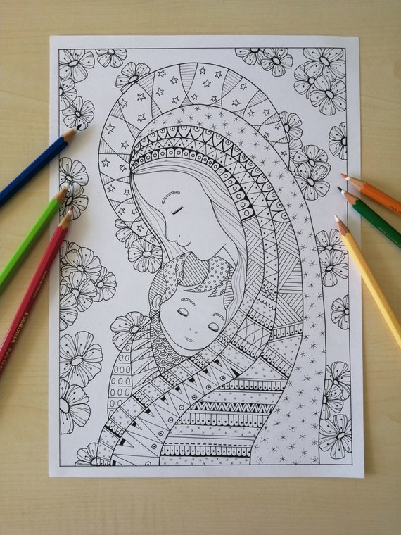 Virgin Mary With The Baby Jesus Coloring Page For Adults Jpg Etsy