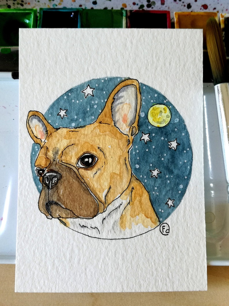 ACEO Original Artistic Paper Collectibles 2.5 x 3.5 French Bulldog honey Moon Starry Sky gift Card by FD Bibartworkshop