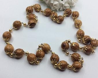 Subtle Gold Earrings Beaded Cream Resin Jewelry Polaris