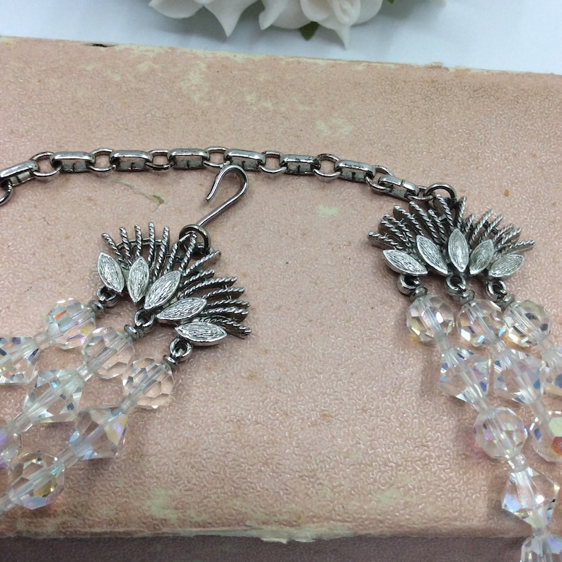 Vintage 1950s Necklace Signed Coro Aurora Borealis Crystal Bead Triple Strand Necklace