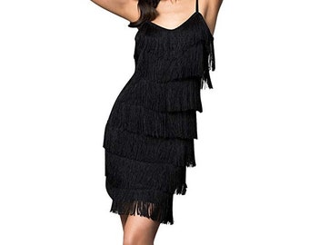 8bd8fa0d2f Cheryl Creations Women s Short All-Over Fringe Flapper Sleeveless  Comfortable Day Night Mini Dress with Adjustable Bra Straps