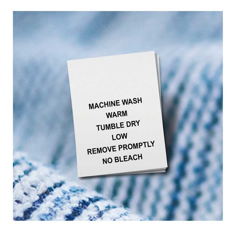 100 PRINTED CARE LABELS Machine Wash Warm.. 1 x 1.5 Nylon Care Garment Labels For Clothing