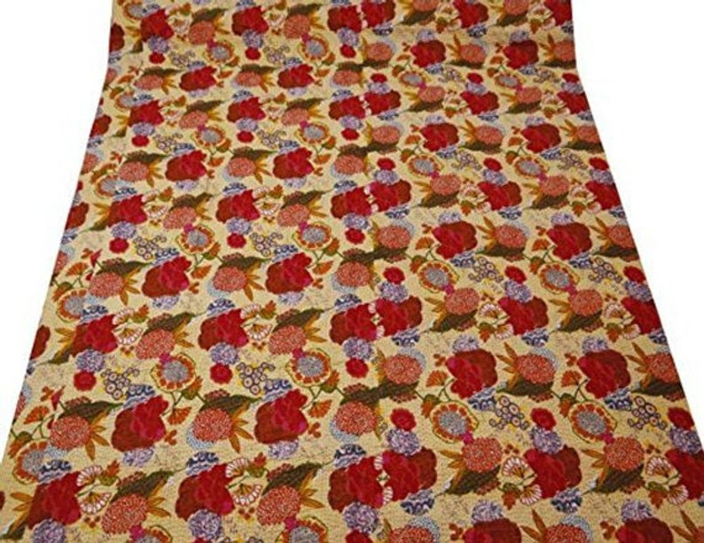 Kantha coverlet Kantha Bedspread Indian Gudri Kantha Beige Indian Fruit Handmade Hand block Kantha Quilt Queen Size Print Kantha Quilt