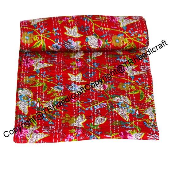 Indian Cotton Kantha Quilt Throw Blanket Bedspread Indian Cotton Throw Gudari