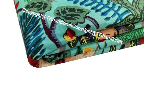 Indian Hand Block Print Craft Sewing Dressmaking Fabric 3 Yard Throw Quilting