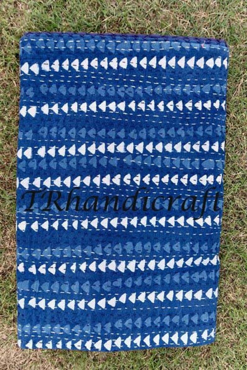 Blue Indigo Handmade Kantha Queen Size Quilt Natural Color Vegetable Dyed Cotton Kantha Blanket Soft Kantha Rajai Hand Block Print Duvet