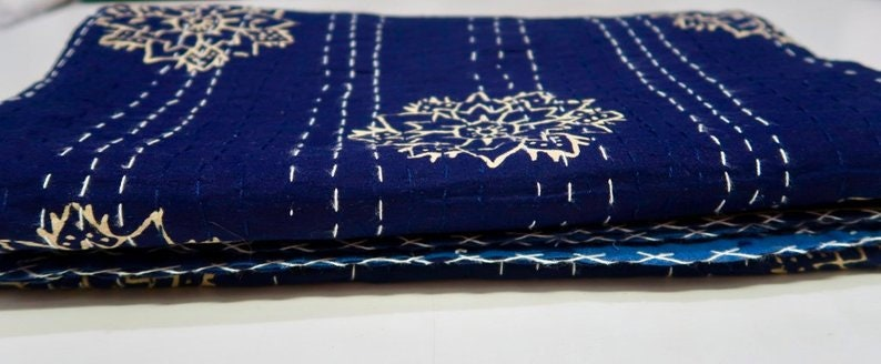 Indigo kantha throw quilt boho kantha indigo bedding bohemian bedding decor boho throw indian cotton coverlet kantha throw twin size king