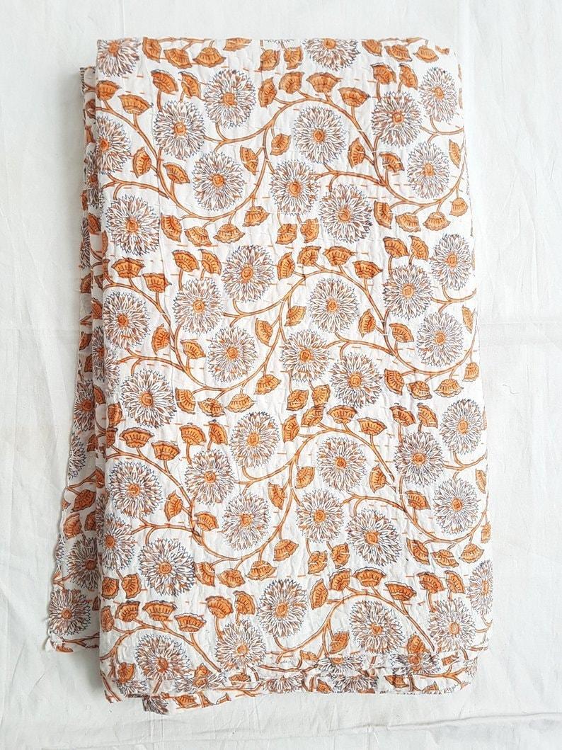 Indian Kantha Quilt Block Printed Kantha Blanket Cotton Kantha Bedspread Handmade Kantha Coverlet Throw Queen /& Twin Size Kantha Bedcover