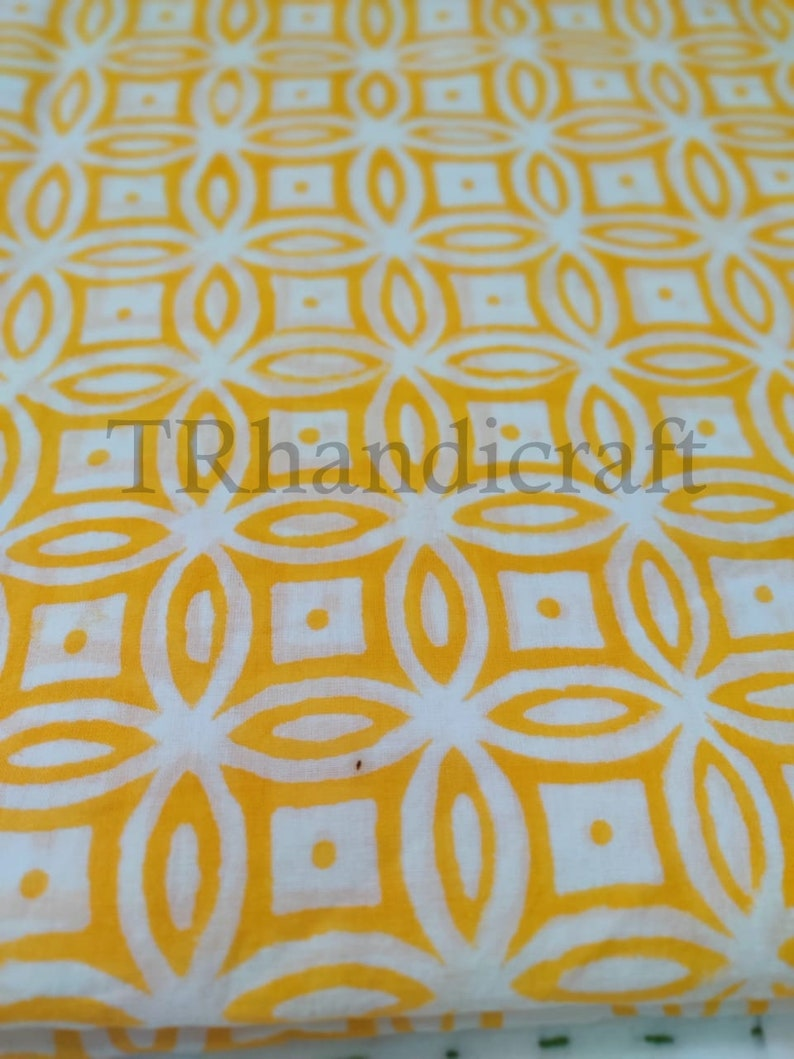 Hand Block Print Fabric Sold By yard Cotton Fabric Cotton Print Yellow Block Print Fabric Indian Cotton Fabric