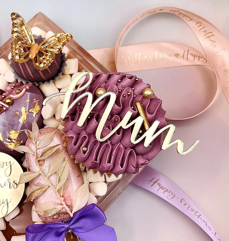 Gift tag mothers day Acrylic Cake Charm Cupcake Toppers mum cake MOTHERS DAY acrylic cake charm Mirror Tag mini Acrylic Cake Toppers