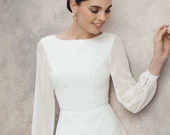Short wedding dress, Chiffon wedding dress, simple wedding dress EVITA