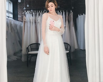 8ae5c4b3eace Open back sexy wedding dress, Ivory tulle color wedding dress, Bohemian bridal  gown, long sleeve dress