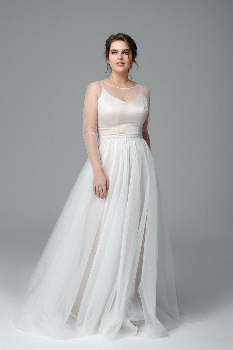 Plus size lace wedding dress long sleeve wedding dress Made | Etsy