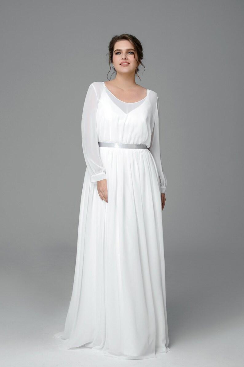 Plus size chiffon wedding dress, Boho long sleeve wedding dress, Made to  measure wedding dress, Simple wedding dress, Bridal gown