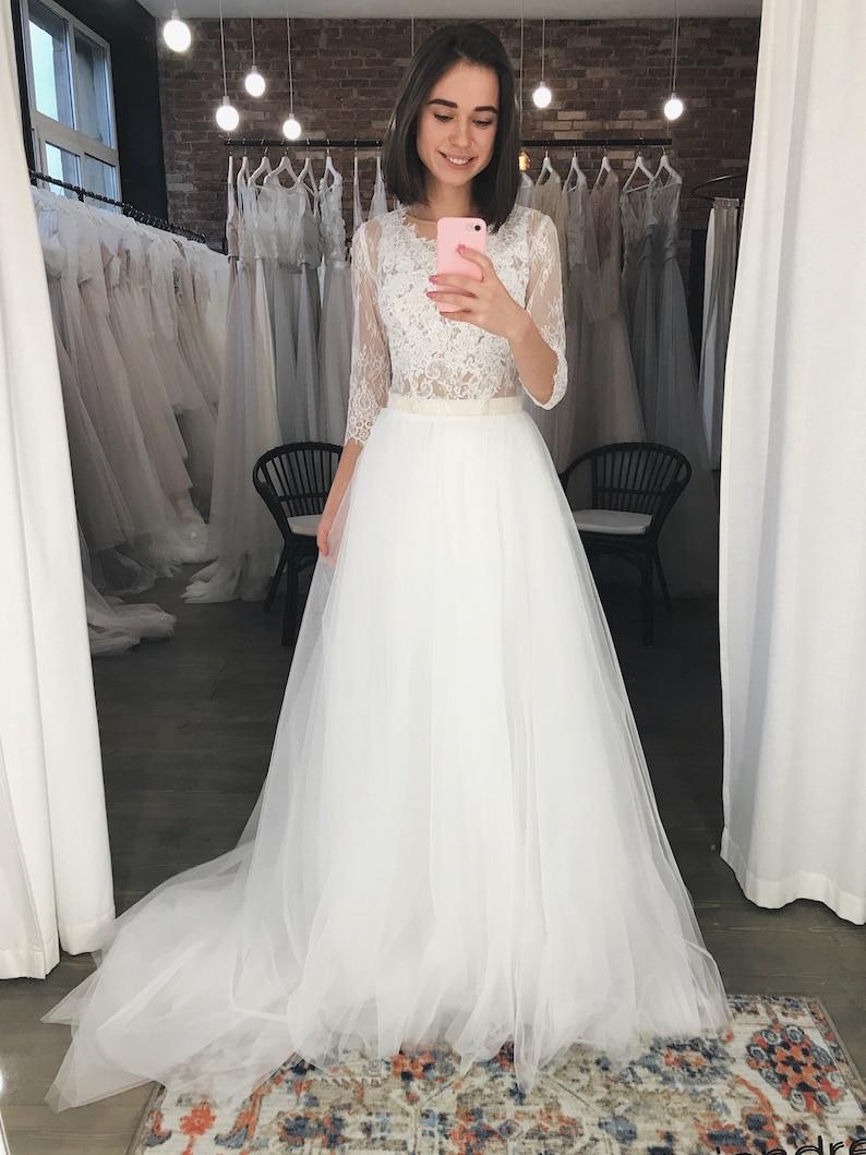 358da3da480e Lace wedding dress Long sleeve tulle wedding dress Bridal   Etsy