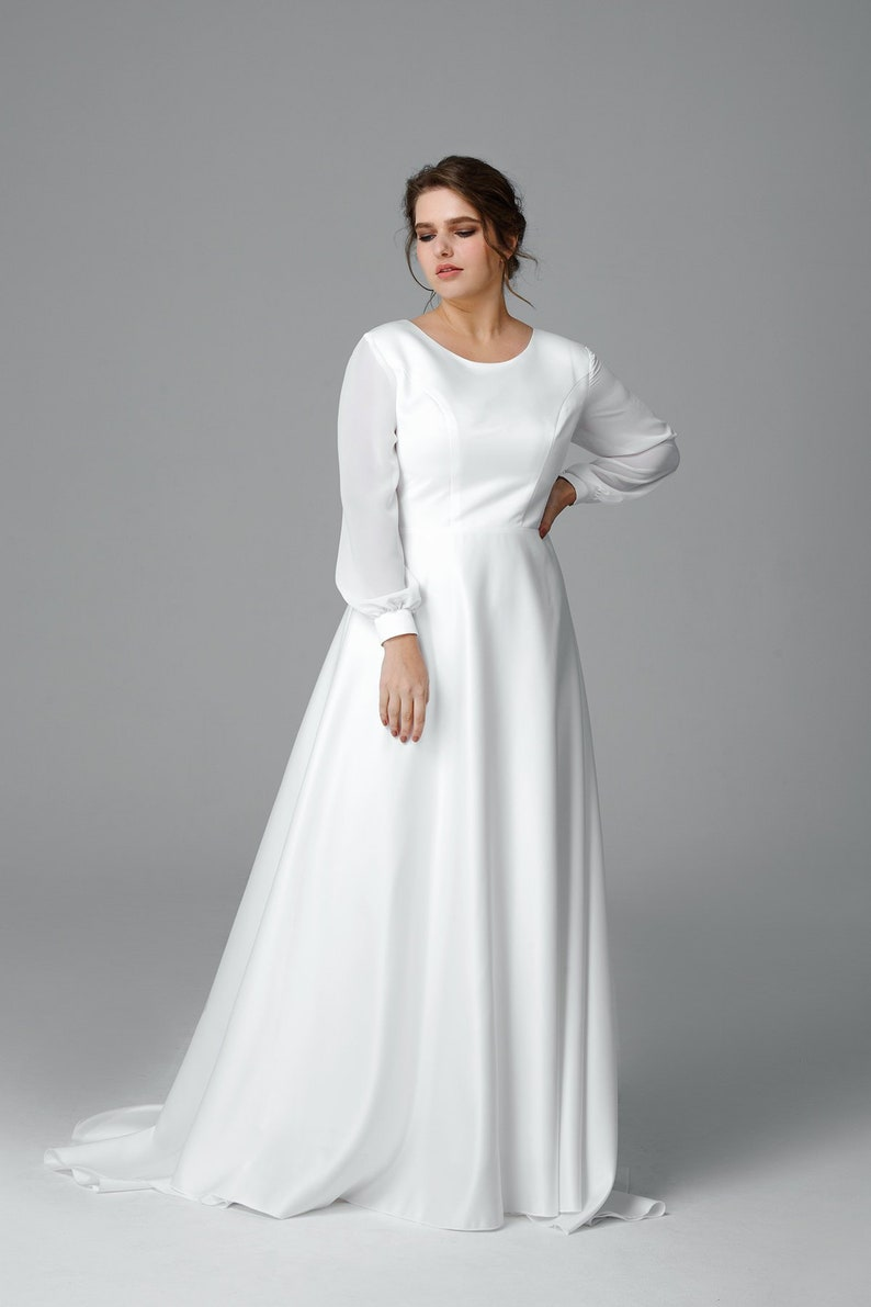 Royal long sleeve wedding dress, Plus size wedding gown, Satin bridal gown  Made to measure wedding dress, Simple wedding dress, Romantic