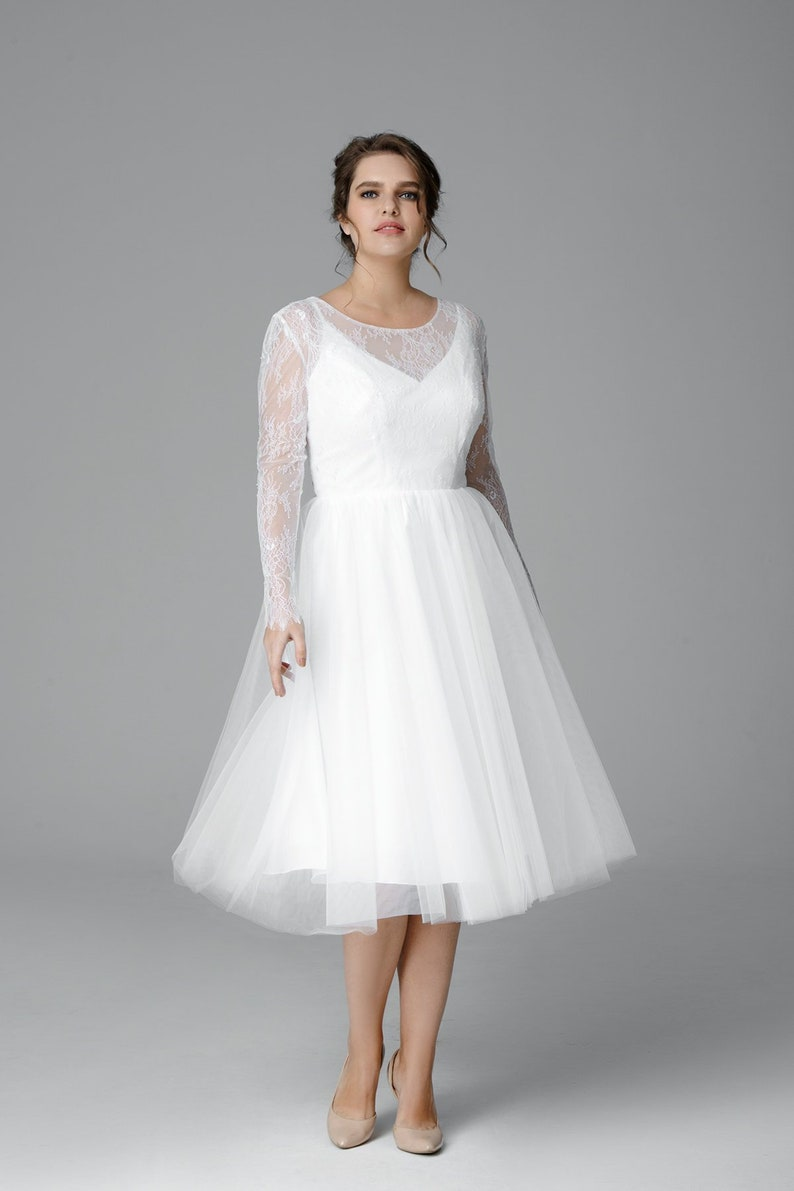 Plus size tulle wedding dress Midi wedding dress Made to | Etsy