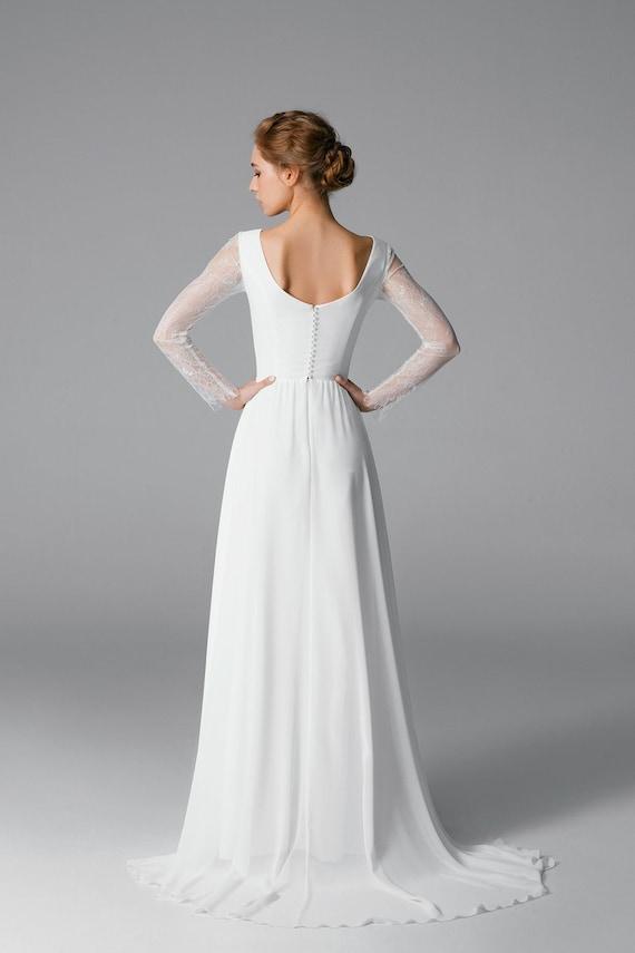 Long Sleeve Wedding Dress Simple Wedding Dress Lace Sleeve Etsy