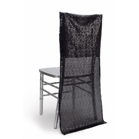 Phenomenal Sequin Wedding Chiavari Chair Cover In Black Machost Co Dining Chair Design Ideas Machostcouk