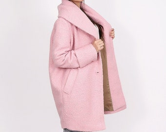 Pink wool coat women coat maxi coat winter coat coat | Etsy