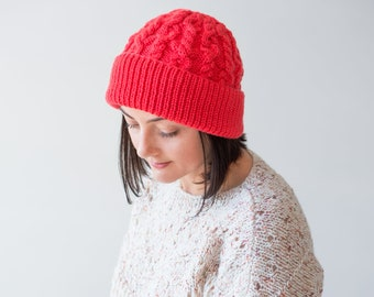 fe0bbf9e71e6 Cashmere winter beanie, Cozy woman's hat, Hand knitted coral beanie,  Oversized slouchy beanie, Cable knit beanie, Luxury cashmere hat