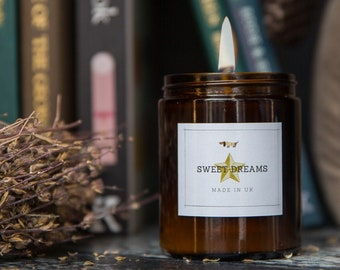 Sweet Dreams Candle, Lavender & Lemongrass Pure Soy Wax, Essential Oils 180ml
