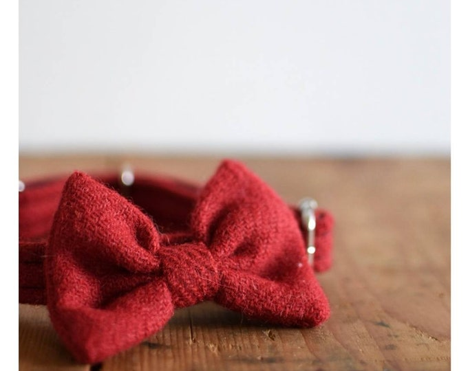 The Rothesay - Christmas Red Dog BowTie Collar Harris Tweed® by Ollie + Co
