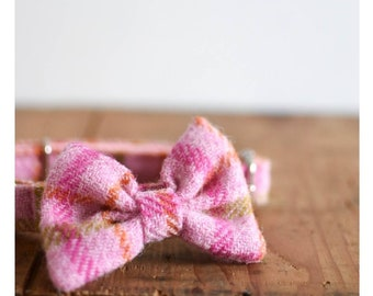 The Portabello - Baby Pink Bow Dog Collar Harris Tweed