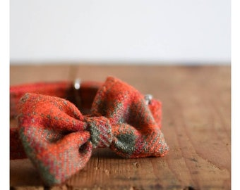 The Aubrey - Red Check Bow Dog Collar Harris Tweed