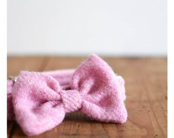 The Lotte - Baby Pink Bow Dog Collar Harris Tweed