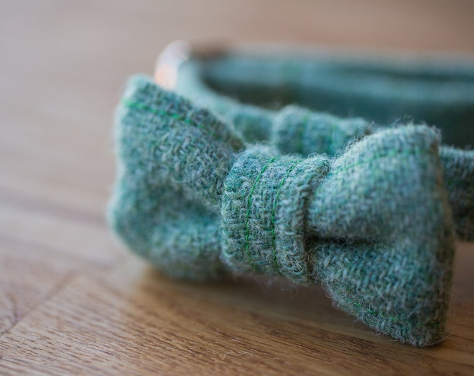 The Barnaby - Sage Green Harris Tweed Dog Collar with BowTie   Ollie & Co