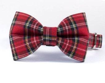 The Royal Stewart Tartan Bowtie Plaid Dog Collar by Ollie + Co | Limited Edition | Christmas | Scottish Wedding