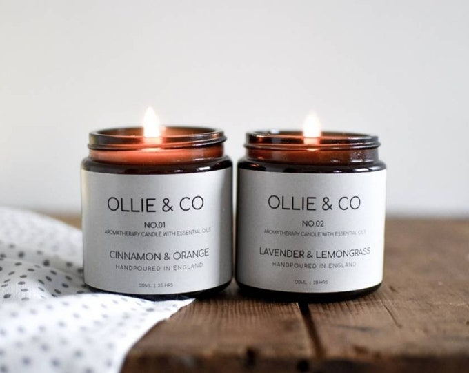 Gift Set of Aromatherapy Candles》Essential Oils | Lavender with Lemongrass, Cinnamon with Orange |  Ollie + Co